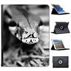 Snake's Head Black & White Folio Wallet Leather Case For iPad 2, 3 & 4