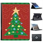 Childs Drawing of Green Christmas Tree Hearts Leather Case For iPad 2, 3 & 4