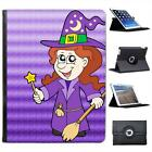 Smiling Witch Wearing Hat With Wand & Broom Folio Leather Case For iPad 2, 3 & 4