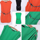 Women casual Three Shoulder Buckle Decorated Mini Tank Lanterns Dress Free Belt