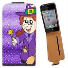 Smiling Witch Wearing Hat With Wand & Broom Leather Case for Apple iPhone 4 4S