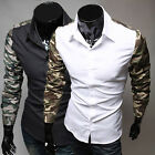 Classic Mens Slim Fit Splicing Long Sleeve Dress Casual Shirts Button-Front Tops