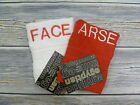NEW EMBROIDERED FACE AND ARSE FACE CLOTH SET IN ALTERNATE THREAD COLOURS