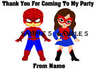 Personalised Superhero Thank You Stickers for party bags/Sweet Cones etc Ref 205