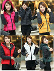 Womens Black Hooded Polka Dot Down Cotton Outwear Slim Short Winter Thick Jacket