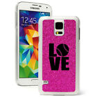 For Samsung Galaxy S3 S4 S5 Glitter Bling Hard Case Cover LOVE Baseball Softball