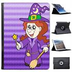 Smiling Witch Wearing Hat With Wand & Broom Leather Case For iPad Air & Air 2