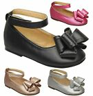 Kids Girls Ribbon Bow Round Toe Mary Jane Ankle Strap Ballet Shoes Flats 11 to 4