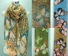 Woman's Long Ladies Cotton Scarves Large Butterfly Print Neck Scarf Wrap Shawl