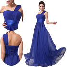 Fashion One Shoulder Bow Long Evening Ball Gowns Bridesmaid Wedding Prom Dress