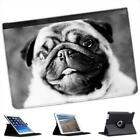Black & White Pug Face Folio Leather Case For iPad Mini & Retina