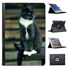 Grey & White Short Hair Cat On Park Bench Leather Case For iPad Mini & Retina