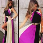 Custom Made High Neck Long Evening Formal Dress with Side Split