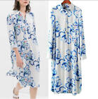 Vintage Style Floral Printed Long Ball Gown Cocktail Party Shirt Dress S M L