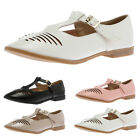 Womens Cut Out Ladies Flat Geek Work School Smart Cut Out Shoes Sandals Pumps