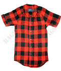 TOPMAN Boys Mens Red Buffalo Check Baseball Y Neck Shirt XS Small Medium BNWT