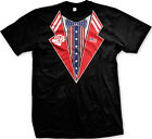Patriotic Fake Tuxedo USA Flag America 4th of July Independence Tie Mens T-shirt