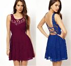 Beautiful Deep Purple Or Blue Skater Dress in Lace Fully Lined with Open Back