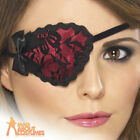 Adult Lace Pirate Eyepatch Black & Red Ladies Fancy Dress