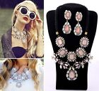 Luxury Crystal Crew Flower Bib Statement Pendant Necklace & Earrings Mixed Style