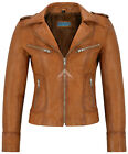 RIDER Ladies Tan WASHED Biker Motorcycle Style Soft Real Nappa Leather Jacket