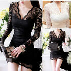 Hot Women Sexy V-neck Long Sleeve Evening Party Cocktail Slim Lace Mini Dress EN