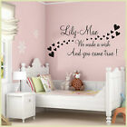 GIRLS BOYS NAME WALL ART STICKER PERSONALISED QUOTE BEDROOM NURSERY HOME DECOR