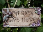 New Handcrafted Rustic Fairies Live Here Fairy Wall Hanging Plaque Gift Garden
