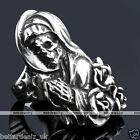 316L Stainless Steel Gothic Punk Rose Witch Skull Beauty Finger Ring Cool Gift