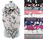 Brand New Ladies Scarf Shawl Sarong Butterfly Print Cream Pink Grey Black Purple