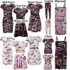 GIRLS ONE DIRECTION SIGNATURE &NICK NAME PRINT LEGGING SKATER MIDI DRESS T Shirt