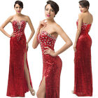 Sweetheart V Neck Sexy Sequins Long Maxi Prom Formal Ball Cocktail Evening Dress