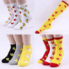 Women Pattern Crew Knee Socks Fruit Rubber Duck Fast Food  Fashion Harazuke