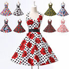 ❤London FAST❤ ROCKABILLY Vintage 50s Floral Cherry Print Party Prom Swing dress