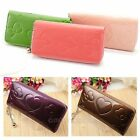 New Womens Fashion heart Zipper Leather Long Handbag Ladies Wallet Coin Purse