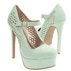 Mint Perforated Diamond Cut Out Platform Mary Jane Stiletto High Heel Pump 5-11