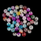 50pc 8mm Crack Beads Glass Round Loose Beads Bracelet DIY Accessary Multicolor