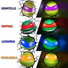 TMNT Teenage Mutant Ninja Turtles Face Head 3D Deco Wall LED Light FX Room Decor