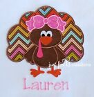Girl Infant Toddler Thanksgiving Girl Turkey Bow Personalized Long Sleeve Shirt