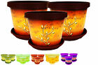 Set  of 3 Coloured plant pots whith saucer flower pots,indoor outdoor many sizes