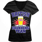 British Drinking Team Cheers Beer Glass Pint Union Jack Juniors V-neck T-shirt