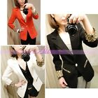 New Womens Candy Casual Blazer Suits Leopard Turn Back Cuff Lapel Blazer Jacket