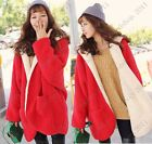 Red Thick Warm Hooded Fluffy Fleece Faux Fur Coat Poncho Jacket Two-sided Wear