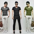 Fashion Mens Casual Solid Color Short-sleeve V-neck T-shirt Tight-fitting Black