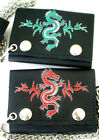 NEW Trifold Leather Chain Wallet You Choose Green or Red Embroidered Dragon