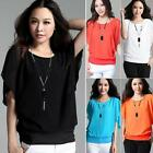 Hot Women Casual Loose Short Batwing Sleeve Chiffon T Shirt Tee Tops Blouses