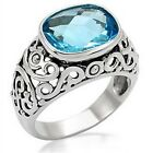 Stainless Steel Aqua Blue Cubic Zirconia Solitare Cocktail Ring (I4N2)