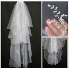 2-Layer White/Ivory Elbow Length Beads Edge Wedding Bridal Veil with Comb 2014