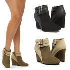 Womens Pointy Toe Ankle Bootie Stappy Buckle Wedge High Heel Boot Pump Shoe 5-11