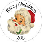 50 x Personalised Vintage Santa Christmas Stickers/Seals Party Presents Gift Bag